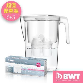 【BWT德國倍世】◆超值優惠組◆Mg2+鎂離子健康濾水壺3.6L(白) + 8周長效濾芯-三入組