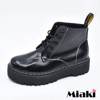 【Miaki】軍靴韓風熱銷英倫馬汀綁帶厚底粗跟包鞋 (黑色)