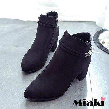 【Miaki】踝短靴韓女團絨質鑽飾繞帶低跟包鞋 (黑色)
