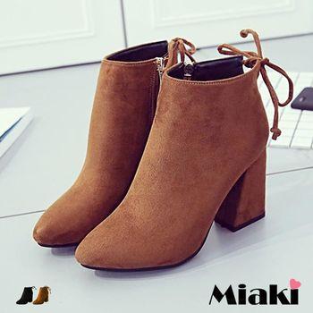 【Miaki】高跟鞋首爾簡約典雅皮質圓頭繫帶裸踝低跟包鞋 (棕色 / 黑色)