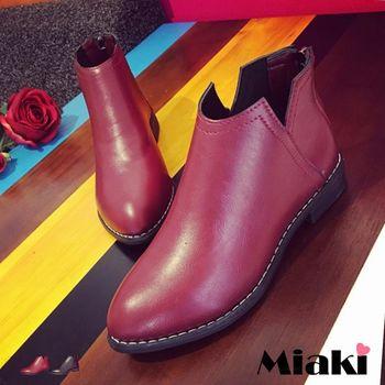 【Miaki】踝短靴韓時尚剪裁V口皮質低跟包鞋 (紅色 / 黑色)