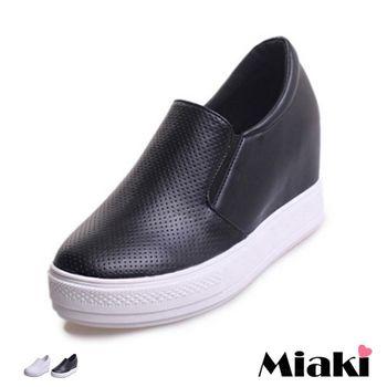 【Miaki】休閒鞋韓東大簡約時尚內增高懶人包鞋 (白色 / 黑色)