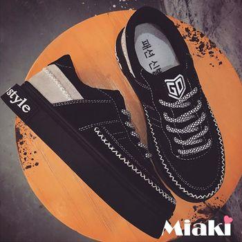 【Miaki】休閒鞋韓潮流字母縫線時尚綁帶厚底包鞋 (黑色)