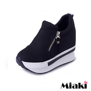 【Miaki】休閒鞋潮流字母內增高側拉鍊厚底懶人包鞋 (黑色)