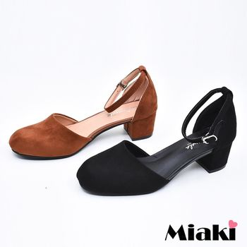 【Miaki】高跟鞋韓優雅絨面繫帶裸踝低跟包鞋 (棕色 / 黑色)