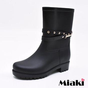 【Miaki】短靴韓鉚釘飾皮質繞帶低筒雨靴 (黑色)