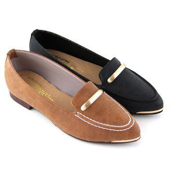 【Pretty】知性一字金屬尖頭低跟鞋-棕色、黑色