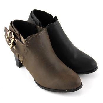 【Pretty】率性雙釦拼接彈性鬆緊高跟踝靴-深綠色、黑色