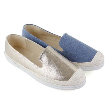 【Pretty】自然無印麻繩編織直套式休閒懶人鞋-金色、淺藍色