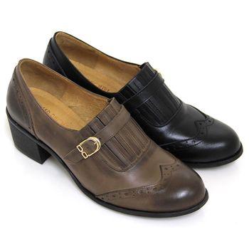 【GREEN PHOENIX】渲染仿舊雕花金屬扣全真皮中粗跟牛津鞋-可可色、黑色