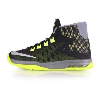 【NIKE】AIR DEVOSION-GS 女高筒籃球鞋 黑螢光綠