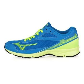 【MIZUNO】RUSH UP 2 男路跑鞋-WIDE-慢跑 運動 美津濃 藍螢光綠