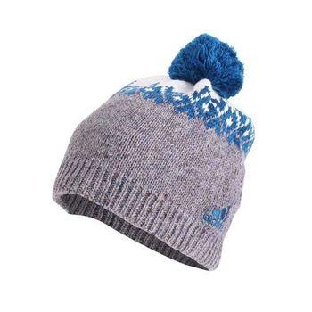 【ADIDAS】戶外保暖帽-刷毛 毛帽 針織 運動 休閒 愛迪達 灰藍白