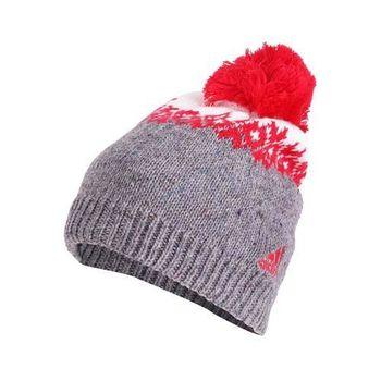 【ADIDAS】戶外保暖帽-刷毛 毛帽 針織 運動 休閒 愛迪達 灰紅白
