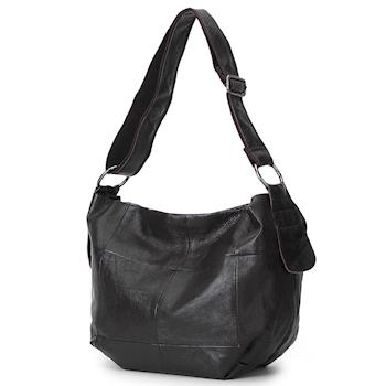 【BAIKAL】原色拼接真皮側背包