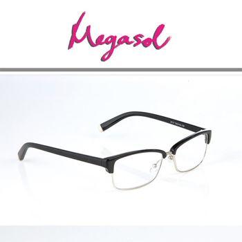 【MEGASOL】抗藍光UV400老花眼鏡(自信中性款-8117)
