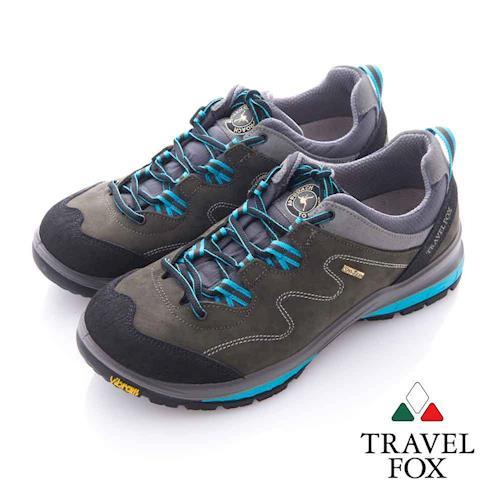 Travel Fox (女) 放輕鬆 Vibram安全大底登山越野運動鞋- 藍灰
