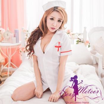 Sexy Meteor 全尺碼-醫診戀曲後鏤空連身護士服+頭飾+丁字褲3件角色扮演睡衣組(天使白)A2184-02