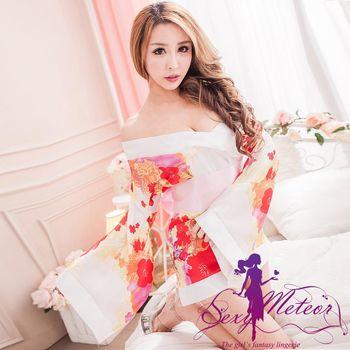 Sexy Meteor 迷戀花卉和服睡衣三件式角色扮演睡衣組(愛戀白)A2179-01