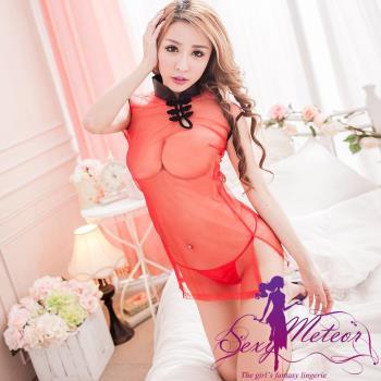 Sexy Meteor 古典美人網紗旗袍領二件式角色扮演睡衣組(花樣紅)A2139-01