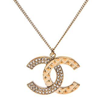 CHANEL 經典雙C LOGO水鑽鑲嵌x菱格紋項鍊(金)