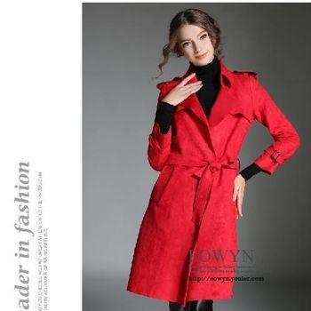 實拍簡約時尚大氣麂皮絨長款系帶風衣外套紅色/S/M/L/XL