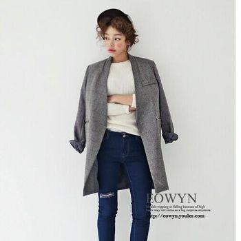 韓國misslady複古氣質無領大方格子假兜2粒扣毛呢長西裝風衣灰色/均碼