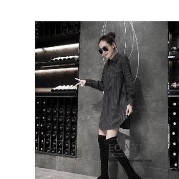 歐洲站半開領蝴蝶結中長款長袖條紋襯衫女上衣外套襯衣圖片色/M/L/XL