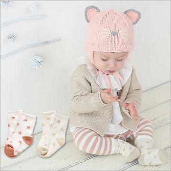 【兩雙入】寶寶金銀絲星星短襪短筒襪防滑嬰兒襪
