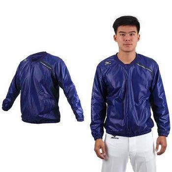 【MIZUNO】男長袖防風衣-運動 休閒 慢跑 路跑 T恤 美津濃 深藍白