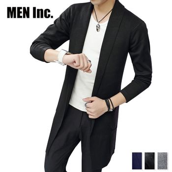 Men Inc.「男神」長版開襟針織外套-黑色
