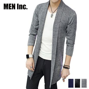 Men Inc.「男神」長版開襟針織外套-灰色