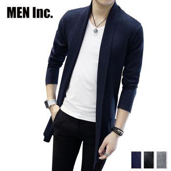 Men Inc.「男神」長版開襟針織外套-藍色