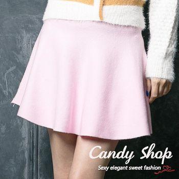 Candy 小鋪     高腰純色針織A字短裙(白/藍/粉)-0097873