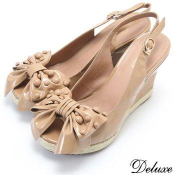 【Deluxe】全真皮古典浪漫蝴蝶結魚口楔型涼鞋(卡其)