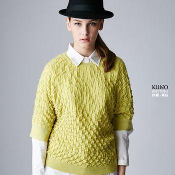 名媛首選【KIINO】活潑立體織紋連肩五分袖上衣 1862-1051