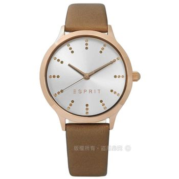 ESPRIT / ES109292004 / 優雅俏麗多色刻度真皮手錶 銀x玫瑰金框x金蔥 34mm