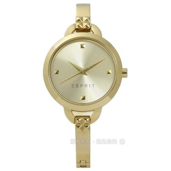 ESPRIT / ES109372002 / 簡約百搭方形刻度不鏽鋼手錶 鍍金 28mm