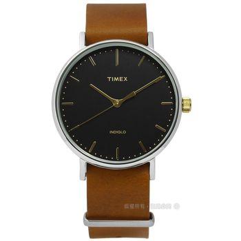 TIMEX 天美時/ TXT2P97900 / INDIGLO 美國指標生活簡約真皮手錶 黑x卡其 41mm