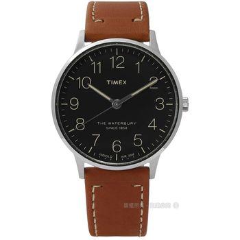 TIMEX 天美時/ TXT2P95800 / INDIGLO 美國復古美學清晰面板真皮手錶 黑色 40mm