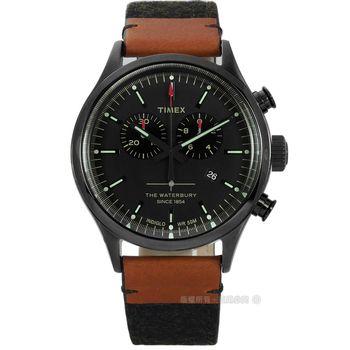 TIMEX 天美時/ TXT2P95500 / INDIGLO 美國復古指標計時毛呢真皮手錶 黑x卡其黑 43mm