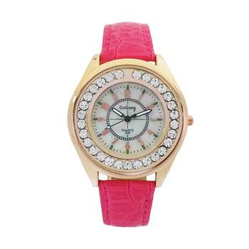 【GOGOey】絕代佳人閃耀晶鑽奢華腕錶  (艷麗玫紅)-贈典雅珍珠項鍊
