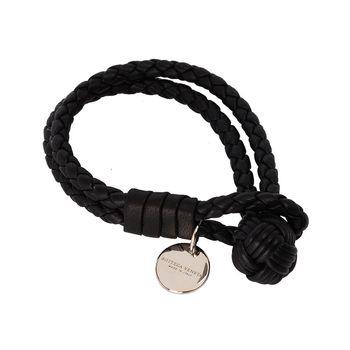 BOTTEGA VENETA 經典編織小羊皮雙繩手環 (黑色-M)