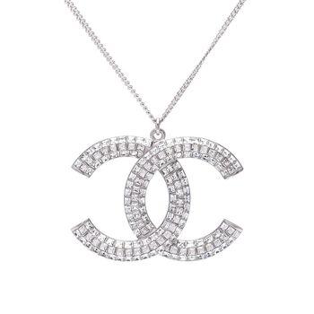 CHANEL 香奈兒經典雙C LOGO方鑽並排鑲嵌項鍊(銀)
