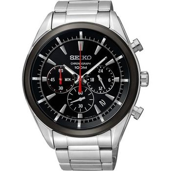 SEIKO 誰與爭鋒三眼計時腕錶-黑/45mm 6T63-00H0D SSB089P1