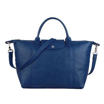 Longchamp Pliage Cuir小羊皮系列手提肩背包(中/藍)
