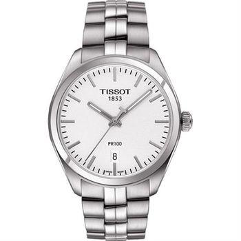 TISSOT PR100經典美學時尚腕錶-銀/39mm T1014101103100