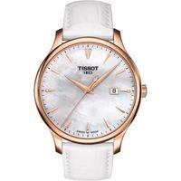 TISSOT Tradition 真鑽 大三針石英腕錶~珍珠貝x玫瑰金框 42mm T06