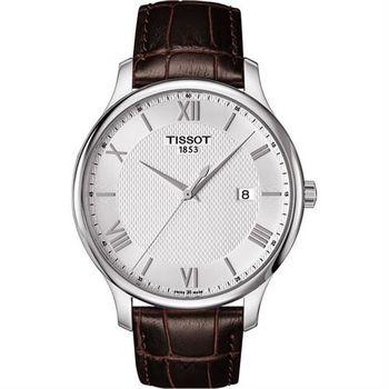 TISSOT Tradition 羅馬經典大三針石英腕錶-銀x咖啡/42mm T0636101603800