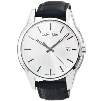 CK Calvin Klein City 凱文克萊時尚皮帶男錶-銀 / K7K411C6